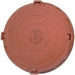 Люк полимерно-песчаный средний ПП-630 С (нагрузка 7 т), обойма 780х90мм, крышка 630х50мм красный
