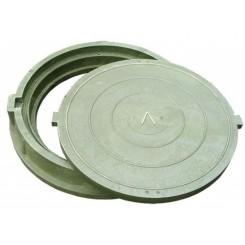 Люк полимерно-песчаный средний ПП-630 С (нагрузка 7 т), обойма 780х90мм, крышка 630х50мм зеленый